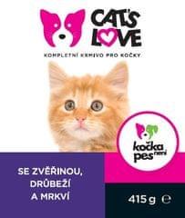 Dogs&Cats love Cats Love konzerva zvěřina, drůbež s mrkví 415g