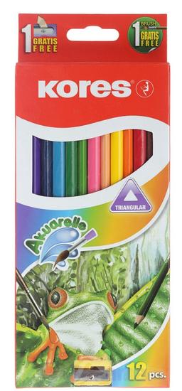 Kores Pastelky trojhranné akvarelové 12 ks s ořezávátkem a štětcem