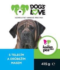 Dogs&Cats love Dogs Love konzerva telecí s drůbežím 415g