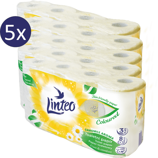 LINTEO toaletni papir s kamilico, 3-slojni, 5 x 8 rolic