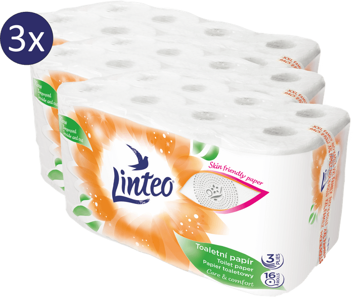LINTEO Toaletní papír 3 x 16 rolí, 3-vrstvý