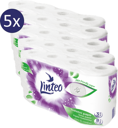LINTEO Satin toaletni papir, 3-slojni, 5 x 8 rolic