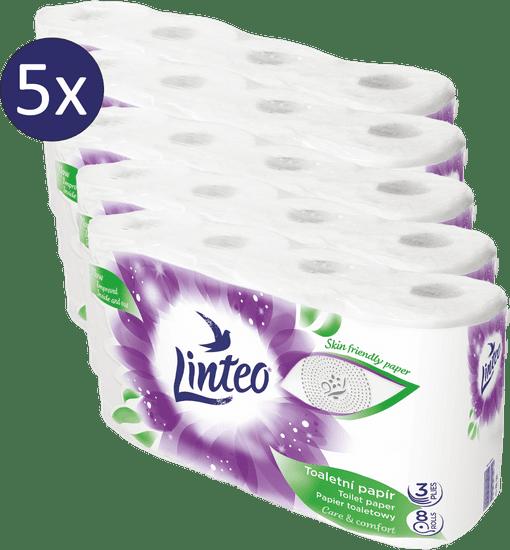 LINTEO Toaletni papir, 3-slojni, 5 x 8 rolic
