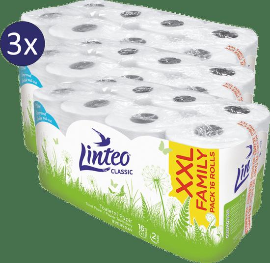 LINTEO Classic toaletni papir 2-slojni, 3 x 16 rolic