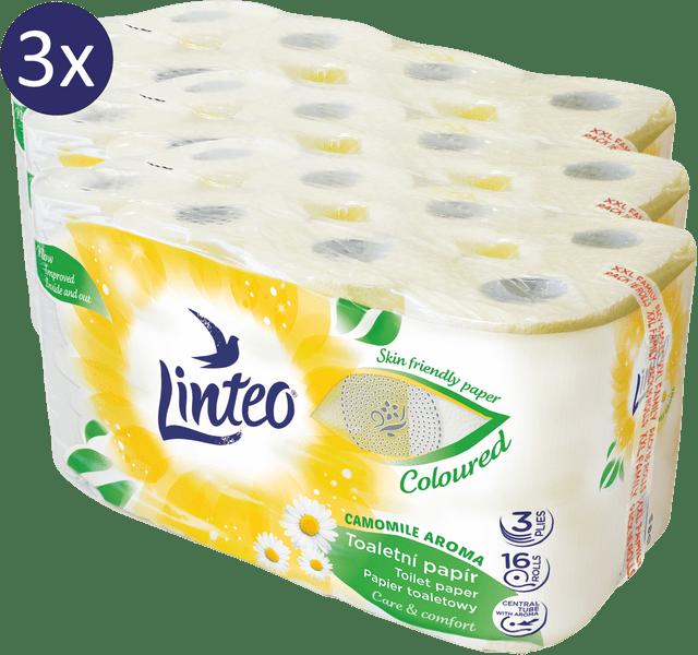 LINTEO Toaletní papír heřmánek 3 x 16 rolí