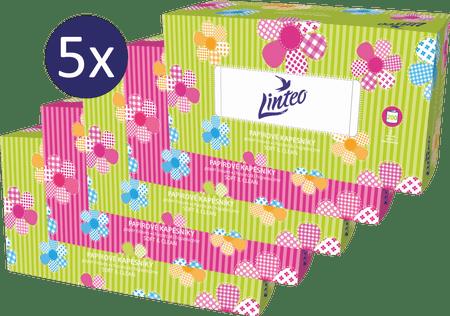 LINTEO Satin Papírové kapesníky v krabičce 5 x 200 ks