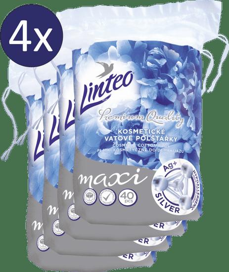 LINTEO płatki kosmetyczne Premium 4 × 40 szt. Maxi SILVER