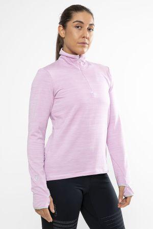 Craft ženski pulover Grid Halfzip, roza, XS