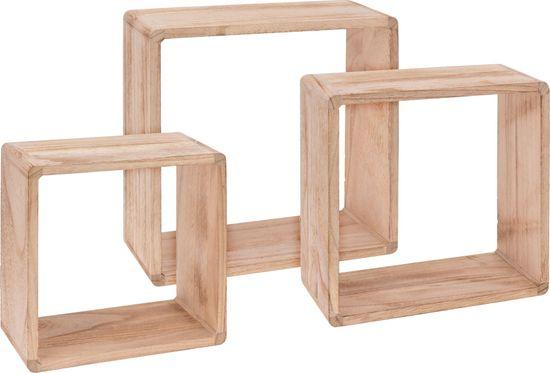 Koopman Sada 3 ks dřevěných dekorativních polic