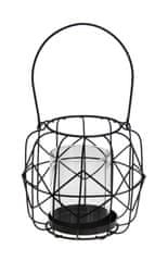 Koopman Závěsný kovový svícen s velkou skleněnou nádobkou