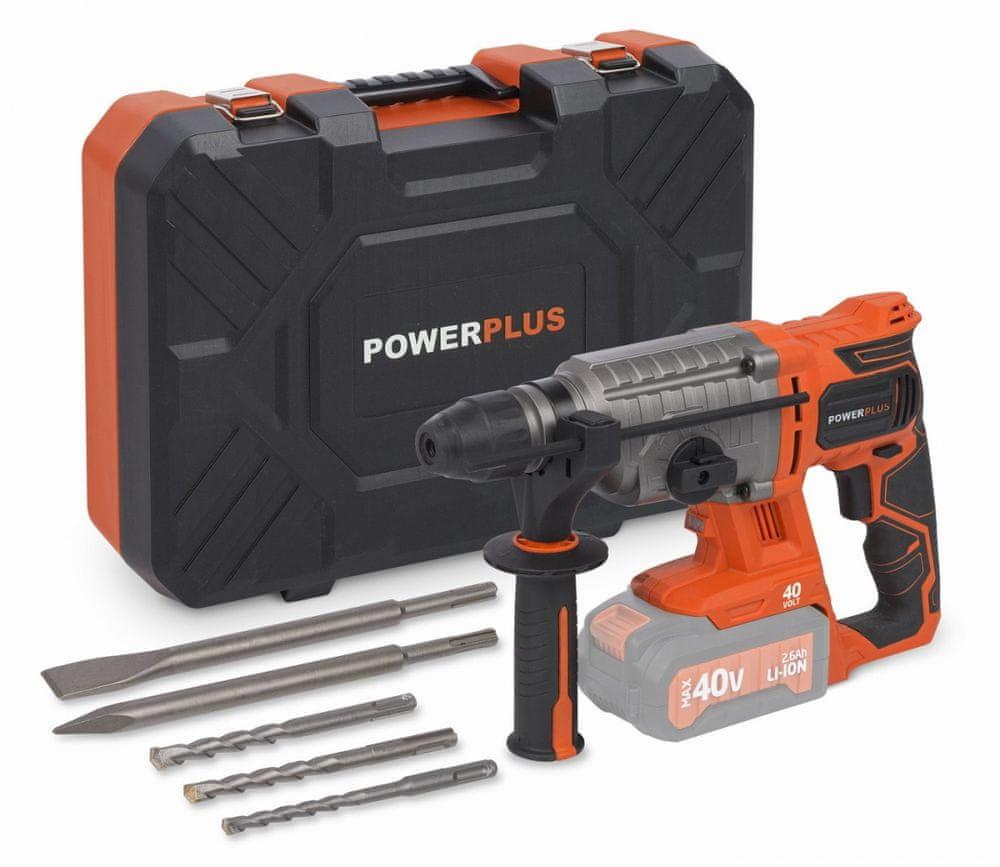 PowerPlus POWDP1570 Kombinované kladivo 40V SDS-Plus (bez baterie) v kufru Dual Power