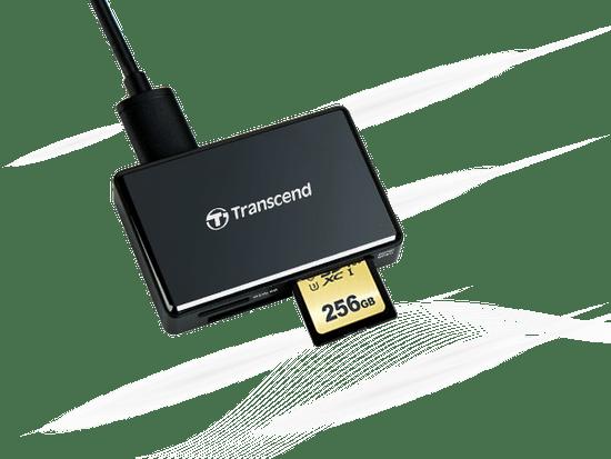 Transcend čitalec kartic RDC8, USB 3.1/3.0, micro USB v USB Type-C, črn