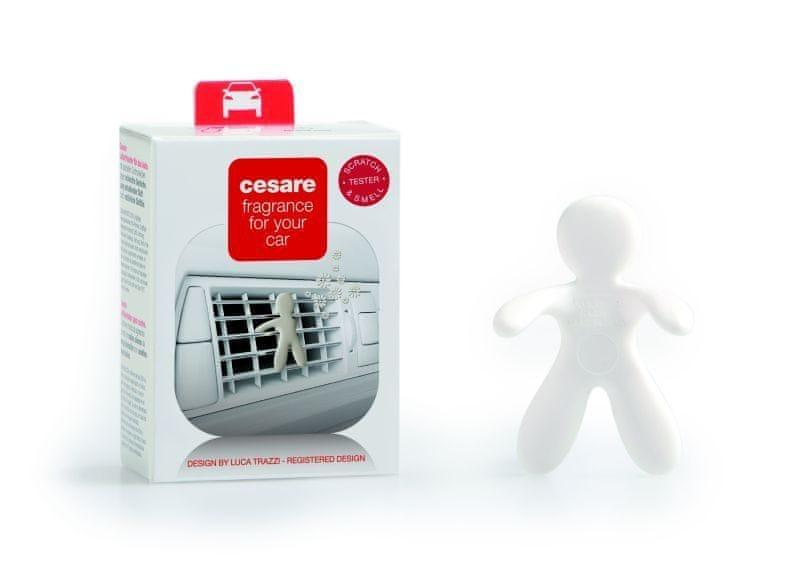 Mr&Mrs Fragrance Automobilová vůně, panáček do auta CESARE BOX, Fresh Air - čerstvý vzduch, bílá barva