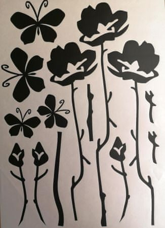 stenska nalepka, zelene rože