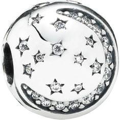 Pandora Stříbrný klip Měsíc a hvězdy 791386CZ stříbro 925/1000