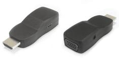 PremiumCord Převodník HDMI na VGA miniaturní provedení se zvukem a napájecím konektorem, černý khcon-21