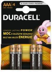 Duracell Alkalické baterie AAA, balení 4 ks 10PP100005