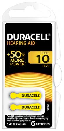 Duracell Baterie pro naslouchadla, velikost 10, balení 6 ks 10PP100026