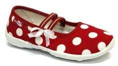 Ren But Dívčí puntíkované bačkůrky s mašličkou - červené