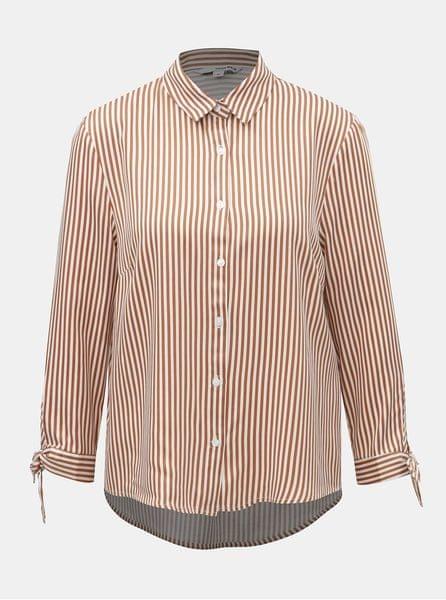 TALLY WEiJL bílo-hnědá pruhovaná košile s mašlí na rukávech S f36643d1a9
