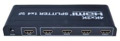 PremiumCord HDMI splitter 1-4 porty, kovové pouzdro, 4K, FULL HD, 3D khsplit4b
