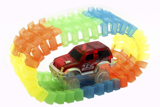 Teddies Világító pálya + autó, műanyag, 221 drb