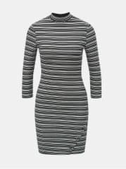 TALLY WEiJL bílo-černé pruhované pouzdrové šaty s 3 4 rukávem 69bc1987c0