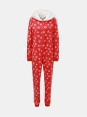 Dorothy Perkins červený pyžamový overal s motivem vloček