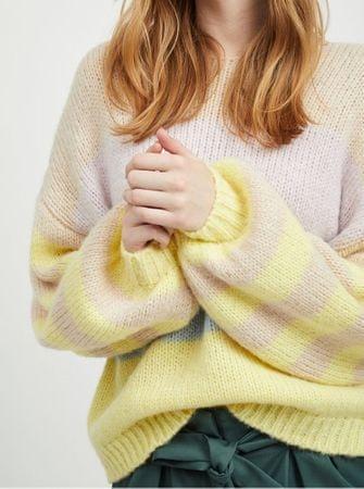 béžovo-žlutý pruhovaný oversize svetr se širokými rukávy a s příměsí vlny  Strive XL a22c2c3975