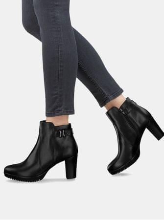 Tamaris černé kožené boty na vysokém podpatku s ozdobnou přezkou 39 ... 867f3a5d0f