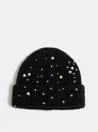 Pieces černá zimní čepice s perličkami Felia ONE SIZE  9c1d5373fa