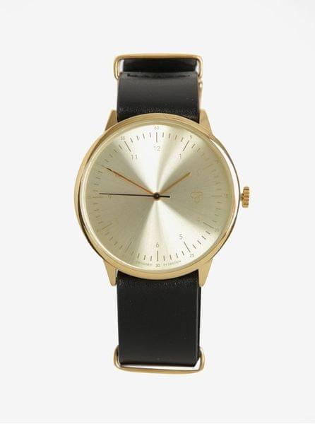 CHPO hodinky s černým koženým páskem Harold