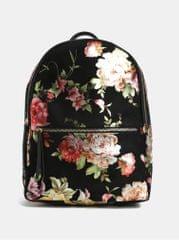 Pieces černý květovaný batoh v semišové úpravě