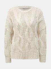 ONLY krémový svetr s kulatým výstřihem a plastickým vzorem Alessa
