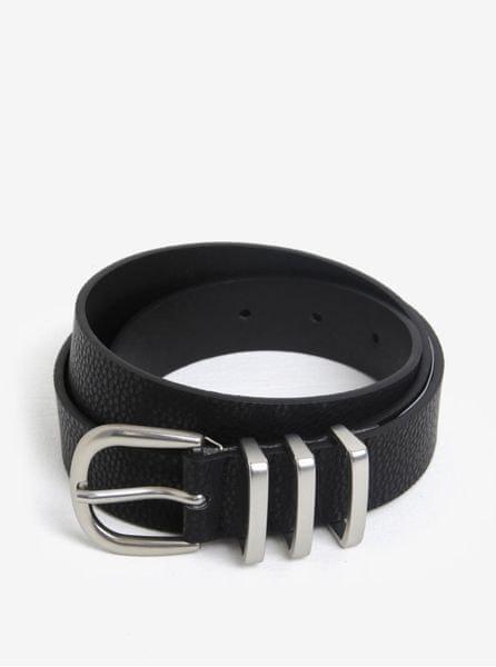 Pieces černý pásek s přezkou ve stříbrné barvě Lea 90