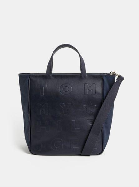 Tommy Hilfiger tmavě modrá vzorovaná velká kabelka