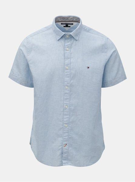 Tommy Hilfiger modrá pánská košile s příměsí lnu L e3d5b845b1