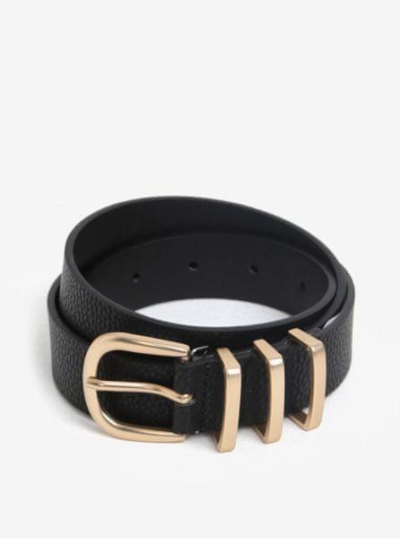 Pieces černý pásek s přezkou ve zlaté barvě Lea 95