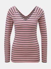 ONLY bílo-růžové pruhované tričko s véčkovým výstřihem na zádech Fifi