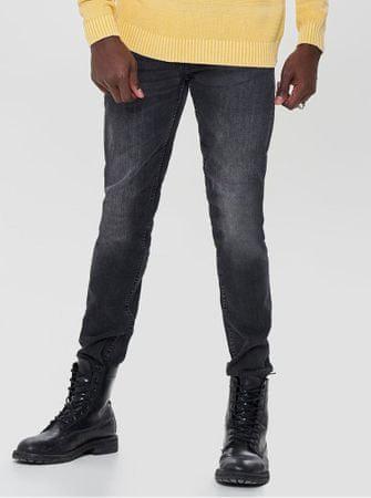 ONLY&SONS tmavě šedé slim džíny s vyšisovaným efektem Loom S