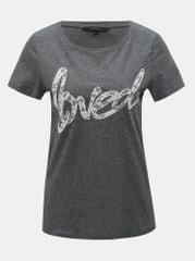 Vero Moda šedé žíhané tričko s krajkovou nášivkou Loving