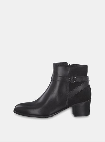 50d2569e486 Tamaris černé kožené kotníkové boty na podpatku 37