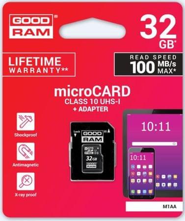 GoodRam spominska kartica microSD 32GB + SD adapter (500305)