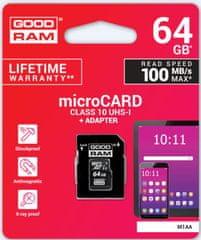 GoodRam memorijska kartica microSD 64GB + SD adapter (500307)