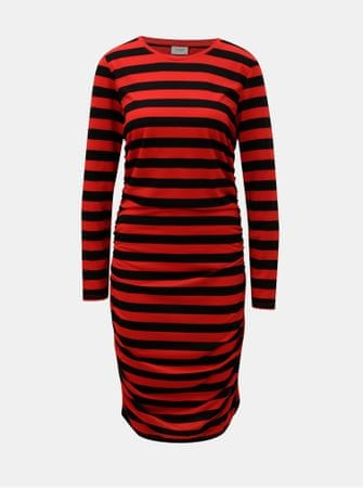 bef05b28a845 Jacqueline de Yong černo-červené pruhované šaty s řasením na bocích ...