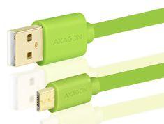 AXAGON BUMM-AM15QG, HQ Kabel MicroUSB <-> USB A, datový a nabíjecí 2 A, zelený, 1,5 m