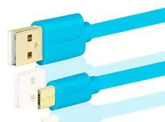AXAGON BUMM-AM15QL, HQ Kabel MicroUSB <-> USB A, datový a nabíjecí 2 A, modrý, 1,5 m