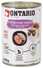Ontario konzervy Chicken, Turkey, Salmon Oil 6× 400 g