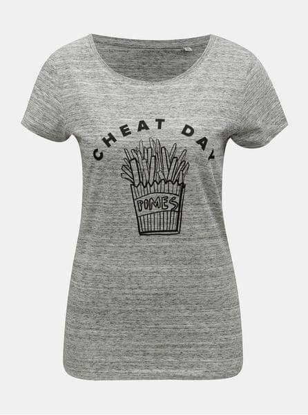 a57e4783e91 ZOOT Original šedé dámské žíhané tričko s motivem hranolek Cheat day M
