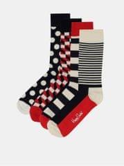 Happy Socks sada čtyř párů ponožek v červené, modré a krémové barvě Big Dot Gift Box